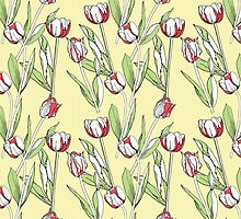 Seamless pattern with tulips by Natalia Piacheva