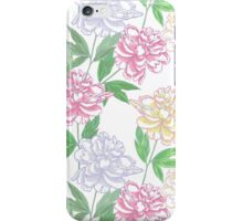 White Seamless pattern  with peonies iPhone Case/Skin