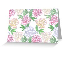 White Seamless pattern  with peonies Greeting Card