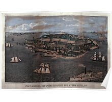 Civil War Maps 0391 Fort Monroe Old Point Comfort and Hygeia Hotel Va Poster