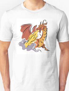 Fire breathing red orange dragon T-Shirt