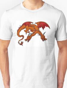 Two headed orange red winged dragon T-Shirt
