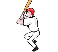 Baseball Player Batting Side Isolated Cartoon by patrimonio