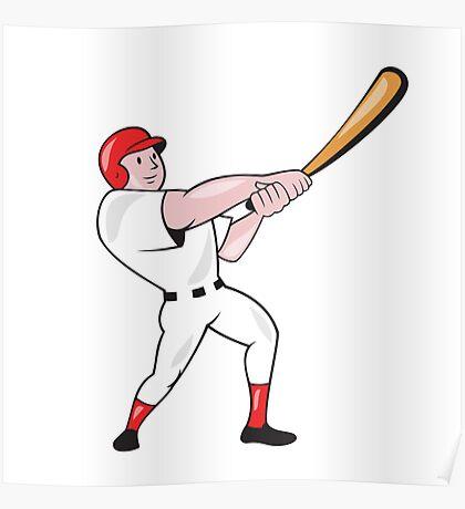 Baseball Player Swinging Bat Cartoon Poster