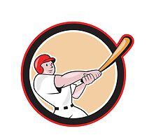 Baseball Player Batting Circle Cartoon by patrimonio