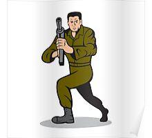 Soldier Aiming Sub-Machine Gun Cartoon Poster