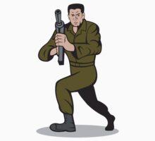 Soldier Aiming Sub-Machine Gun Cartoon T-Shirt