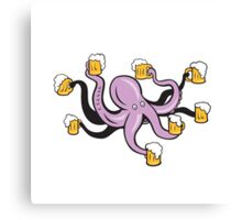 Octopus Holding Mug of Beer Tentacles  Canvas Print