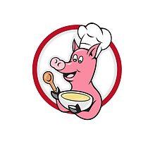 Pig Chef Cook Holding Bowl Cartoon by patrimonio