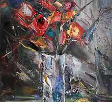 Still Life with Red Flowers by Stefano Popovski