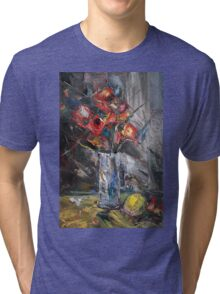 Still Life with Red Flowers Tri-blend T-Shirt