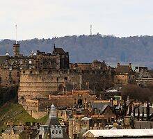 Edinburgh Castle from Salisbury Crags, Scotland by Miles Gray