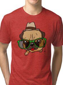 Hipster Pug cartoon dog Tri-blend T-Shirt