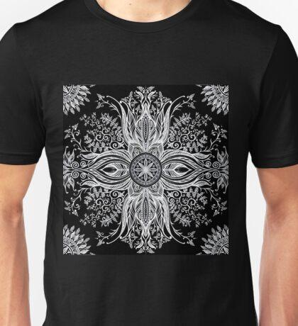 White hand drawn mandala on the black background T-Shirt