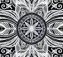 White hand drawn mandala on the black background Sticker