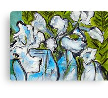 White Flowers in Glass Jars Canvas Print