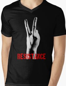 Resistance Two Fingers Mens V-Neck T-Shirt