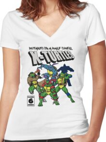 X-Turtles, Mutants in a half shell (Colab with RPAdame) Women's Fitted V-Neck T-Shirt