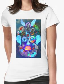 Neon face Womens Fitted T-Shirt
