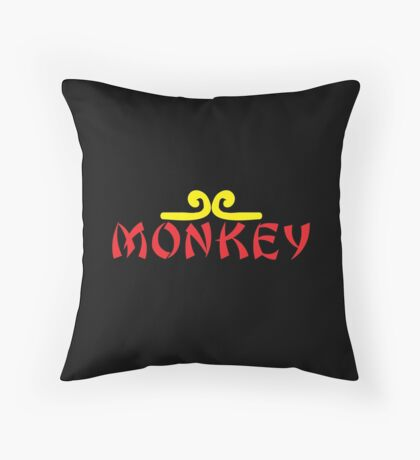 MONKEY with headband Throw Pillow