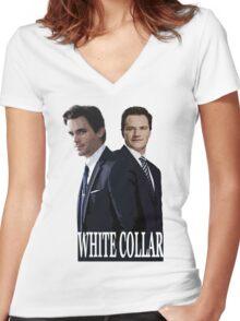 White Collar 2 Women's Fitted V-Neck T-Shirt