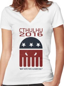 Cthulhu 2016 Women's Fitted V-Neck T-Shirt