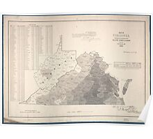 Civil War Maps 1022 Map of Virginia showing the distribution of its slave population from the census of 1860 Poster