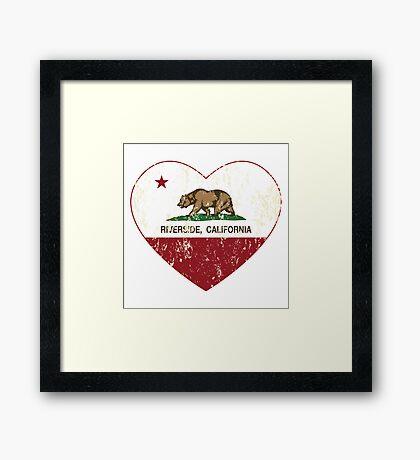 Riverside California Love Heart Distressed Framed Print