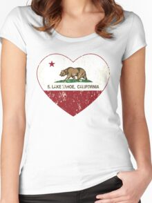 South Lake Tahoe California Love Heart Distressed Women's Fitted Scoop T-Shirt