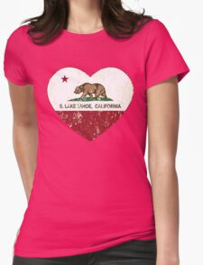 South Lake Tahoe California Love Heart Distressed Womens Fitted T-Shirt