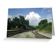 Clouds over Tracks Greeting Card