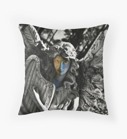 There's an angel playing a harp Throw Pillow