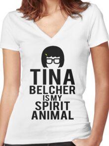 Tina Spirit Animal Women's Fitted V-Neck T-Shirt