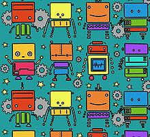Colorful Robots by elorah