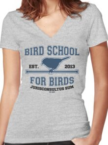 Bird School for Birds Women's Fitted V-Neck T-Shirt