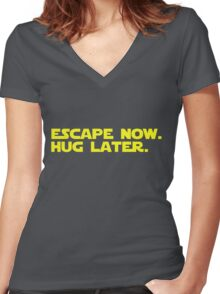 Escape Now. Hug Later. - Star Wars: The Force Awakens Shirt (Yellow Text) Women's Fitted V-Neck T-Shirt