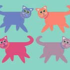 4 Colorful Cats by Jean Gregory  Evans