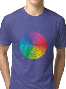 Spider Web - Color Spectrum White Tri-blend T-Shirt