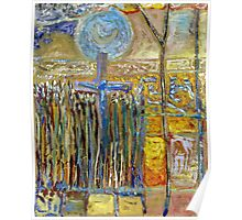 Moon Rising Above The Cross In The Corn Poster