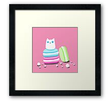 Macarons and Cat Framed Print