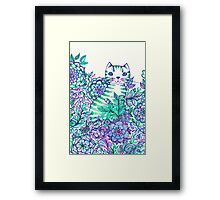 Garden Cat Doodle Framed Print