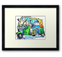 Tuk Tuk Auto Rickshaw Yellow Green Framed Print