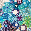 Spirograph Art Blues and Greens by RachelEDesigns