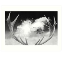 Surreal Dream Stag Antlers In Clouds Art Print