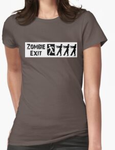 ZOMBIE EXIT SIGN by Zombie Ghetto Womens Fitted T-Shirt