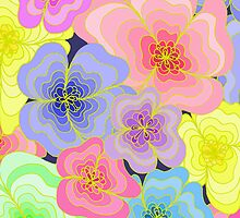 Pastel flowers- hand drawn, many colours, pretty by LyricalSixties