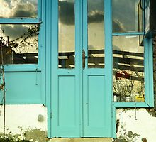 turquoise door in gumusluk bodrum by gzmguvenc89