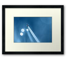 Dewdrop on Blade of Grass with Sparkle in Blue Framed Print