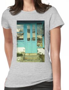 turquoise door in gumusluk bodrum Womens Fitted T-Shirt