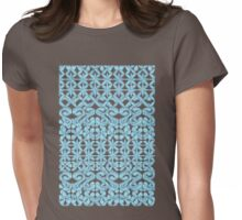 Ikat Lace in Pale Blue on Navy Womens Fitted T-Shirt